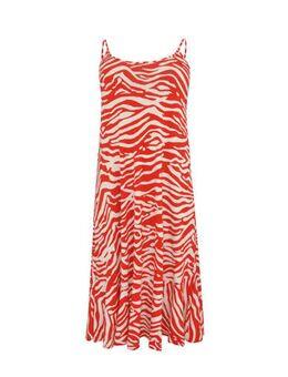 Jersey jurk met zebraprint rood/wit