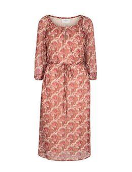 Semi-transparante jurk met paisleyprint en ceintuur brique