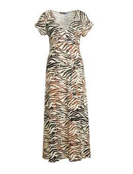 Maxi jurk met zebraprint bruin/beige