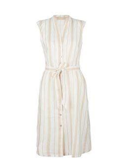 Gestreepte linnen blousejurk wit/beige