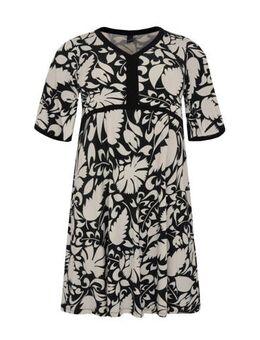 Gebloemde A-lijn jurk met contrastbies en contrastbies zwart/wit