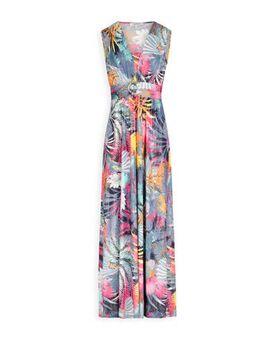 Maxi jurk met all over print en ceintuur marine/multi