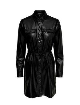 Imitatieleren blousejurk met ceintuur zwart