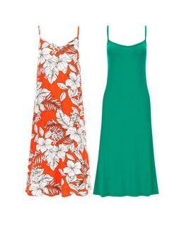 Capsule jurk oranje/groen (set van 2)