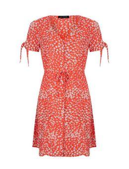 Gebloemde jurk Karin koraalrood