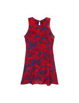 Gebloemde halter A-lijn jurk blauw/rood