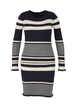 Yessica gestreepte jurk donkerblauw