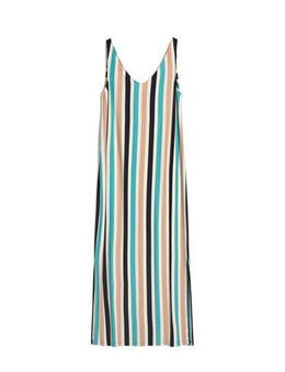 Gestreepte maxi jurk Madalenaa donkerblauw/ turquoise