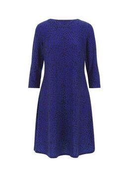 Capsule jersey jurk met all over print blauw/zwart