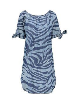 Off shoulder jurk met dierenprint blauw