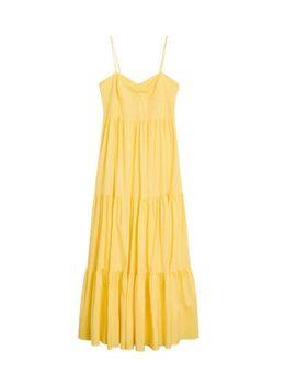 Maxi jurk met volant geel
