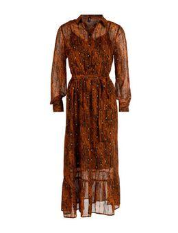 Semi-transparante jurk Pixie met slangenprint en glitters brique