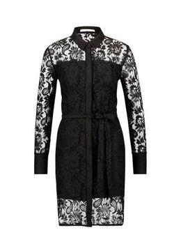 Kanten jurk Ladina met ceintuur zwart