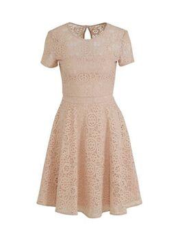 Kanten A-lijn jurk met plooien lichtroze