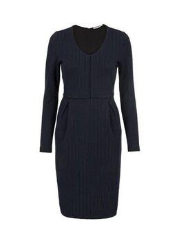 Jersey jurk met plooien blauw
