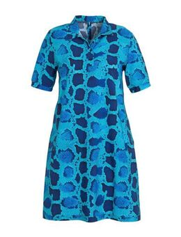 A-lijn jurk met slangenprint blauw