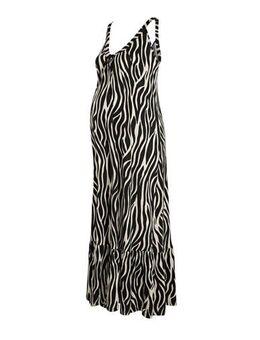 Positiemode zwangerschapsjurk met zebraprint en plooien zwart/zand