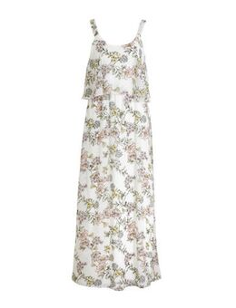 Gebloemde maxi jurk wit/lichtroze/groen