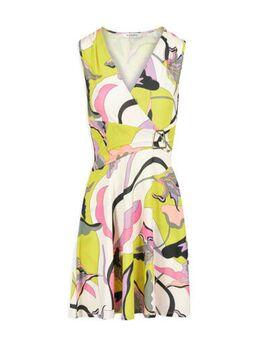 Jurk met all over print en ceintuur geel/wit/roze