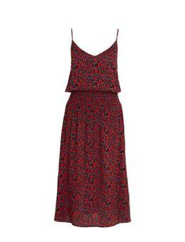 Crinkle viscose jurk met panterprint donkerrood