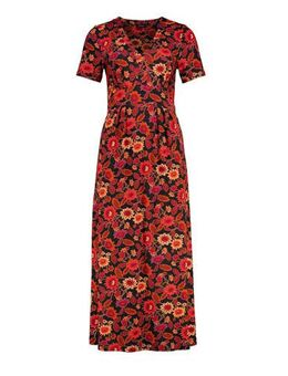 Gebloemde maxi jurk bruin/rood