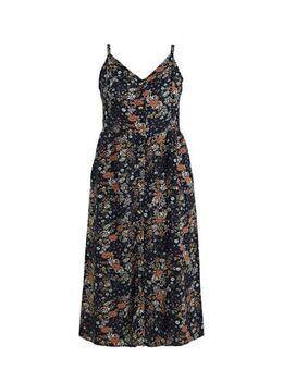 Gebloemde maxi jurk donkerblauw/multi