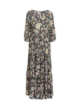 Yessica maxi jurk met all over print en volant antraciet/roze/blauw