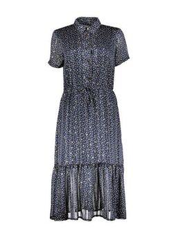 Gebloemde semi-transparante jurk donkerblauw/geel