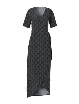Wikkel strandjurk met all over print zwart/wit