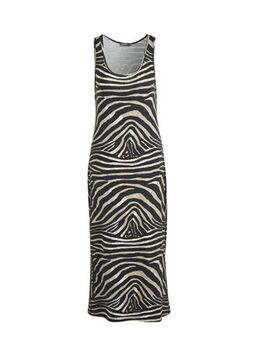 Jersey jurk met zebraprint bruin/zwart