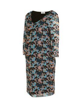 Zwangerschapsjurk Lally met all over print en mesh blauw/roze