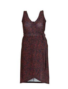 Wikkel-look jurk Plus size met zigzag print zwart/rood