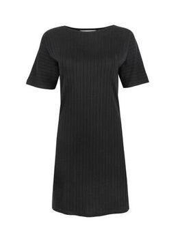 Ribgebreide jersey jurk Iman zwart