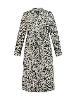 Jurk jurk met dierenprint en ceintuur ecru