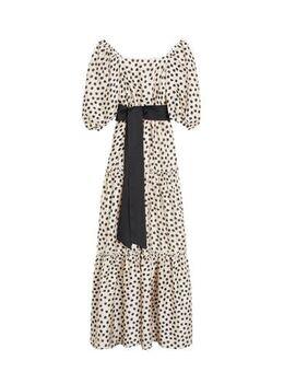 Maxi jurk met stippen ecru/zwart