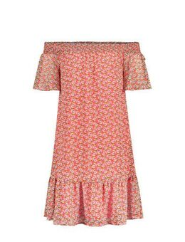 Off shoulder jurk Aleiza met all over print oranje/geel