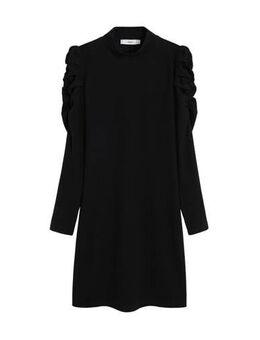 Gebreide jurk met plooien zwart
