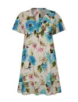 Gebloemde jurk ecru/blauw
