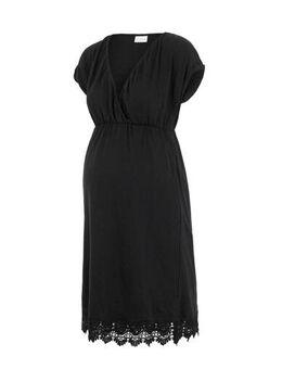 Zwangerschaps- en voedingsjurk Laletta met kant zwart