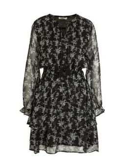 Semi-transparante jurk Gaby met all over print zwart