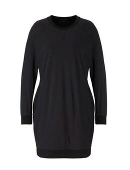 Jersey jurk van travelstof met zijstreep zwart