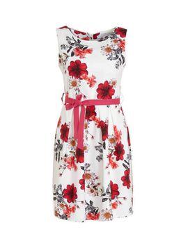 Gebloemde jurk wit/rood