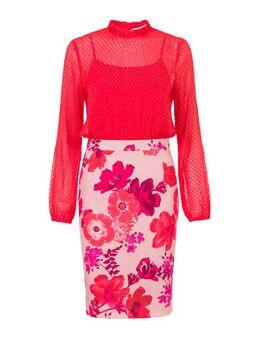 Gebloemde semi-transparante jurk rood/roze