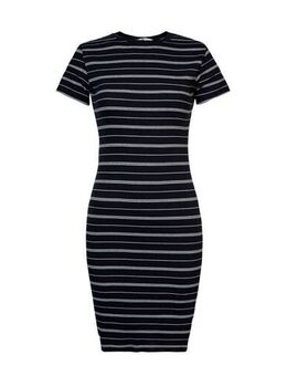 Gestreepte ribgebreide jurk Dibby zwart/wit