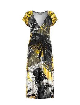 Maxi jurk met all over print geel/zwart
