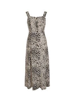 Yessica maxi jurk met panterprint beige/zwart