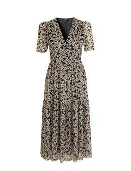 Gebloemde maxi jurk Aldora donkerblauw
