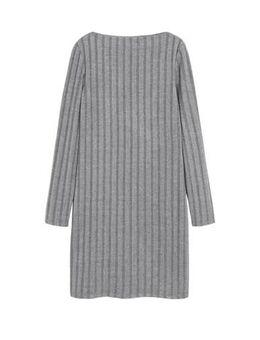 Ribgebreide jurk grijs