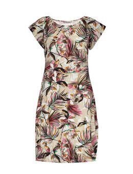 Jersey jurk met all over print zand/roze/groen