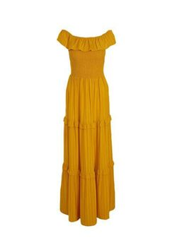 Yessica off shoulder maxi jurk met ruches geel